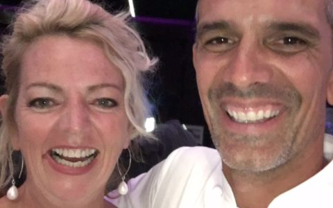 Caro with chef Josh Emmett at a melanoma fundraiser.