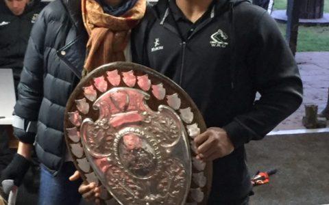 At the Ranfurly Shield win against Whanganui. Caro & Co sponsors the Hautapu Rugby Club.